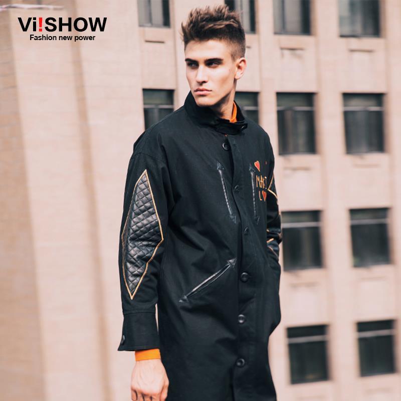 VIISHOW Winter Long Trench Coat Men Printed Coat Classic Men's Outwear Casual Jacket Lover Windbreaker Mens Trench Coat