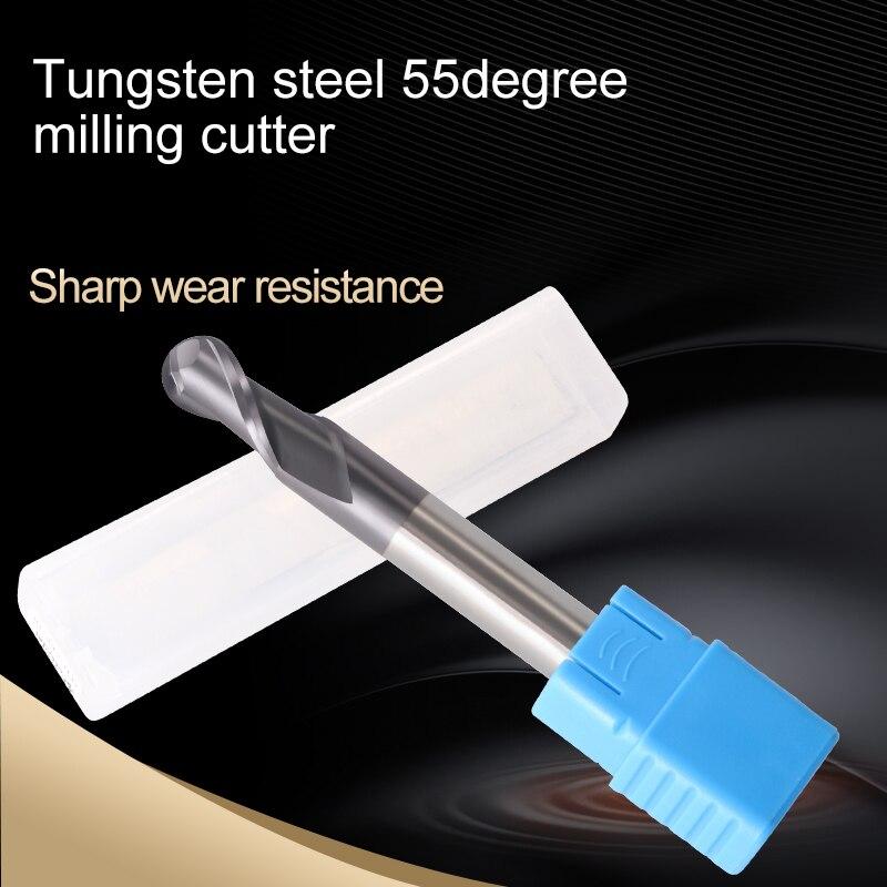 Купить с кэшбэком Augusttools Cnc Ball Nose End Mill Carbide HRC55 2 Flute Cutting Tungsten Steel Milling Cutter Ball Nose End Mill Metal Cutter