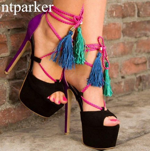 Fringe Fashion Women Platform Sandals High Heels Summer Shoes Woman Gladiator Ankle Strap Sandalias Black Blue Mixed Huarache phyanic 2017 gladiator sandals gold silver shoes woman summer platform wedges glitters creepers casual women shoes phy3323