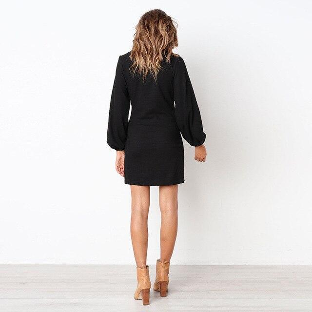 2018 Autumn Winter Dress Fashion Women Casual Loose Elegant Dress Long Sleeve O-Neck Sexy Black White Dress With Belt Vestidos 5