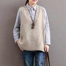Johnature Vrouwen Truien V hals Mouwloze Losse 2020 Herfst Nieuwe Koreaanse Fashion Hollow Out 4 Kleur Casual Tops Vest Truien