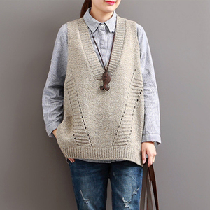 Image 1 - Johnature Women Sweaters V Neck Sleeveless Loose 2020 Autumn New Korean Fashion Hollow Out 4 Colour Casual Tops Vest Sweaters