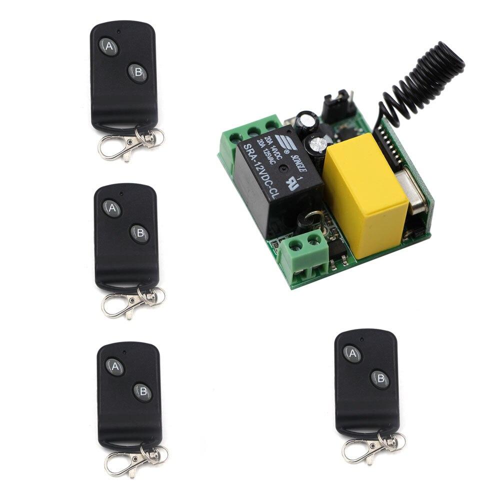Free Shipping Mini Size AC220V 1CH RF Wireless Remote Control Light Switch System 2Keys 4pieces Transmitters & 1piece Receiver free shipping dc12v mini 1ch wireless