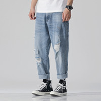 Cycling jeans 2019 Spring Retro Hole jeans Teen Moris New trend patch Small Straight Loose Light color 9 points pants Size 28 42