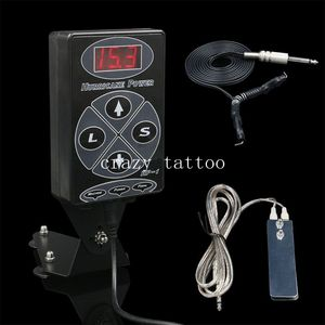 2016 New Tattoo Kits 1Set Black Dual LCD Hurricane HP-1 Tattoo Power Supply With 1PCS Clip Cord & 1PCS Foot Pedal Free Shipping