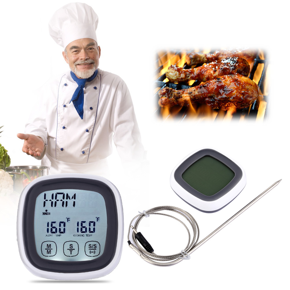 Mini LCD Kitchen Timer Touchscreen Digital Meat Cooking Thermometer and Timer with with Probe Timing and Alarm Function 1 7 lcd thermometer with timer for kitchen