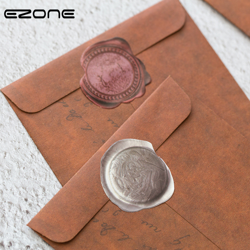EZONE 10PCS/Set Kraft Paper Envelope Vintage Letter Print Western Style Retro Package Photo Storage Gift Package Office Supply