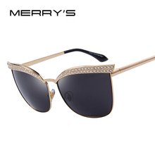 MERRY'S Fashion Women Crystal Diamond Sunglasses Luxury Brand Designer Alloy Frame Vintage Shades UV400