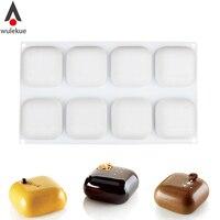 Wulekue 1 шт. Силиконовые 8 полости квадратной формы для выпечки Десерт Мороженое мусс формы украшения Инструменты GEM 100
