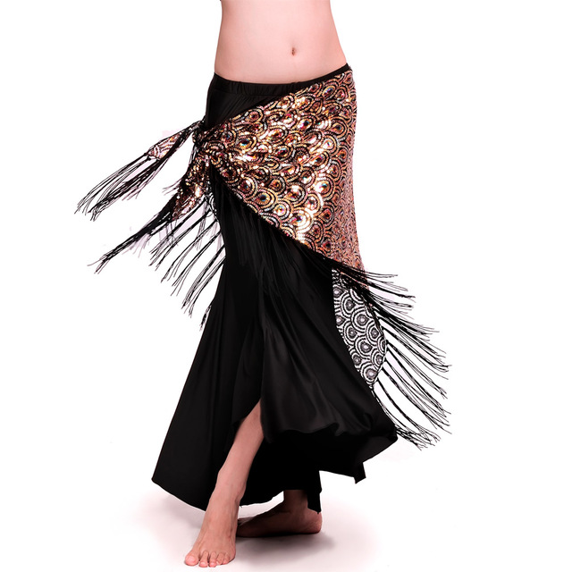 Hot Sale Free shipping New design shining embroidery sequins bellydance belt belly dance hip scarf with tassels:peacock patterns