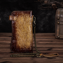 Genuine leather Dargon Tiger Emboss Fashion Checkbook Iron Chain Organizer Wallet Purse Design Clutch Handbag