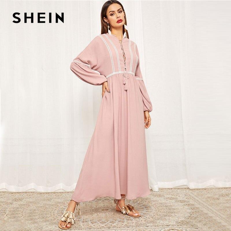 54e67f4359 SHEIN Pink Lace-Up Neck Lace Trim Lantern Sleeve Hijab Maxi Dress Spring  Women Fringe