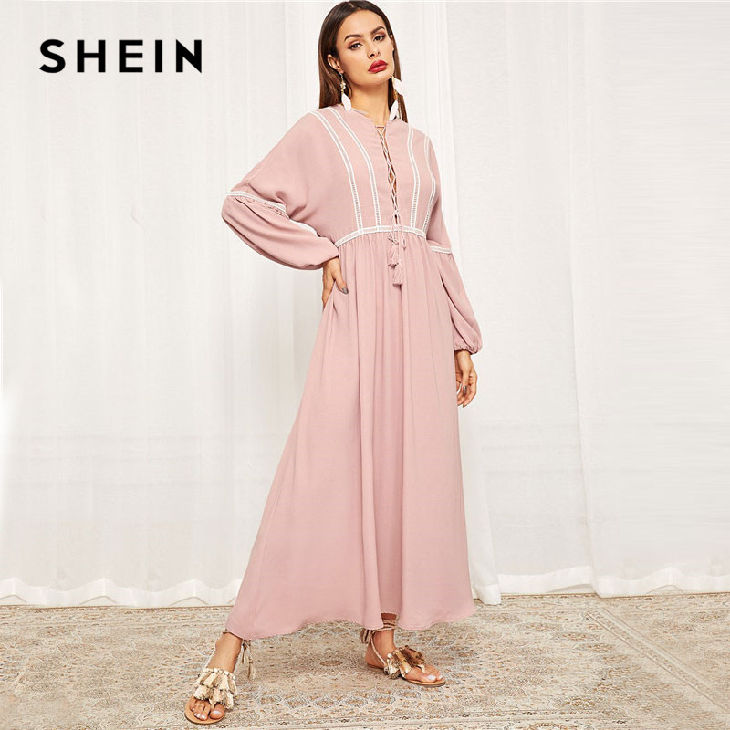 SHEIN Pink Lace-Up Neck Lace Trim Lantern Sleeve Hijab Maxi Dress Spring Women Fringe Details Loose Solid Long Dresses
