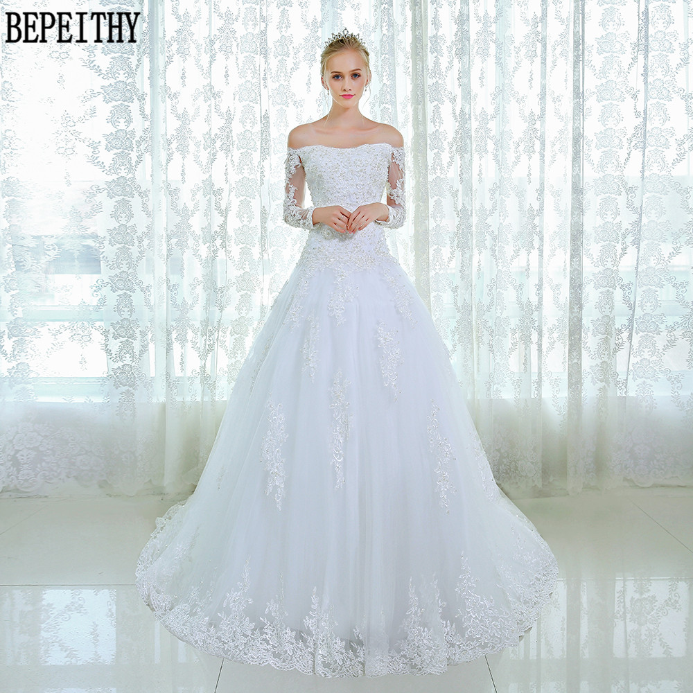 BEPEITHY New Design Long Sleeve Lace Beads Wedding Dresses