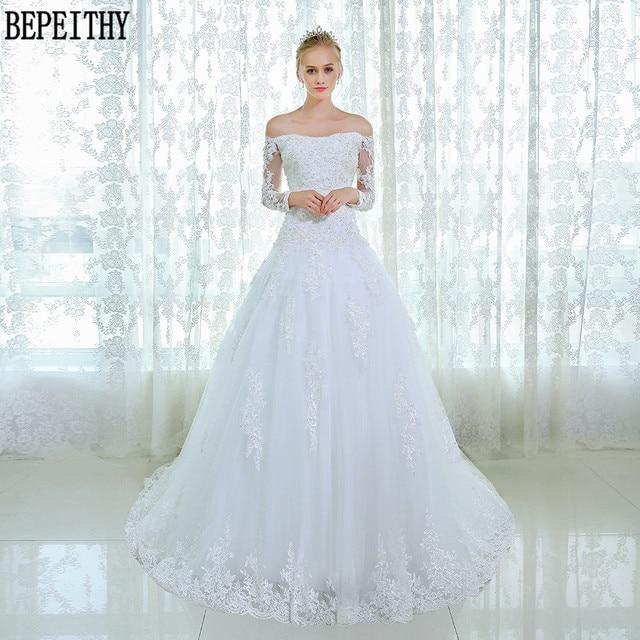 Bepeithy New Design Long Sleeve Lace Beads Wedding Dresses Custom Made Bridal Gown Vestido De Novia