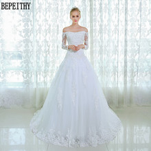 BEPEITHY New Design Long Sleeve Lace Beads Wedding Dresses Custom Made Bridal Gown Vestido De Novia 2017