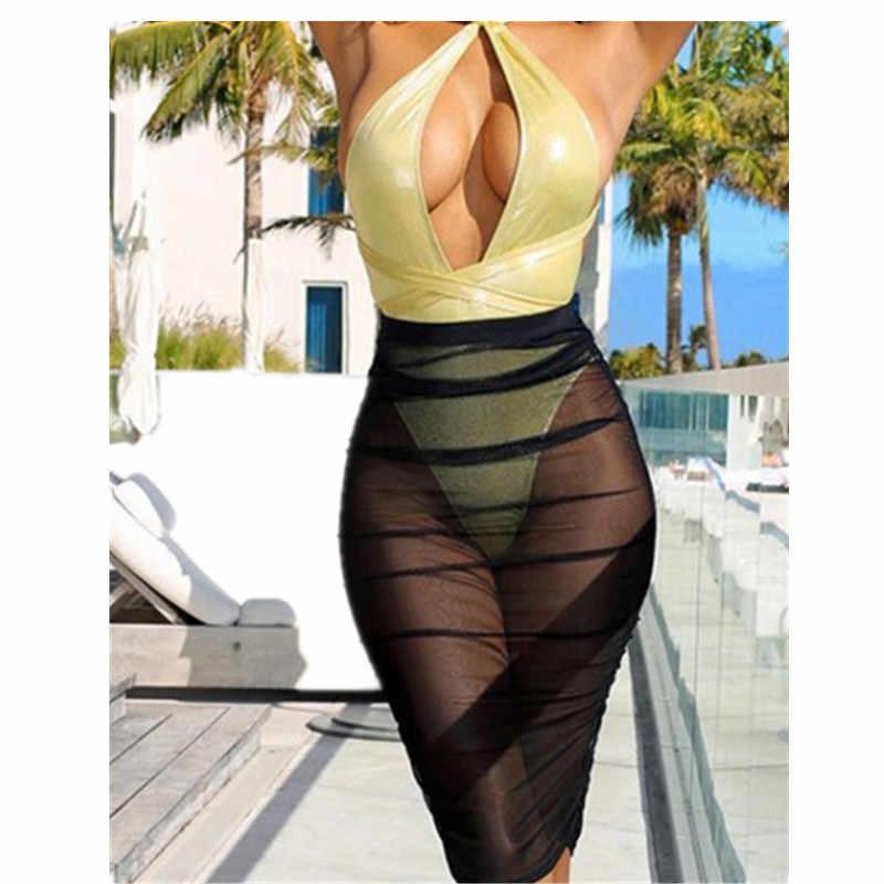 UK Women Beach Mesh Cover Up Skirt Chiffon Beachwear Summer Hot Female Solid Fishnet Swimwear Bathing Sundress