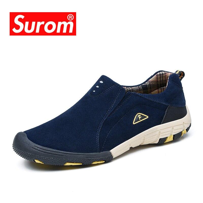 Surom бренд натуральной кожи Для мужчин s повседневная обувь 2018 Лидер продаж Лоферы без застежки Для мужчин модные кроссовки Демисезонный мужской Обувь Мокасины