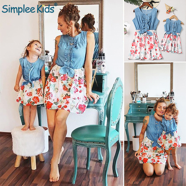 Mother and Daughter Clothes Family Matching Outfits Jeans Floral Dress Summer Chiffon Girl Women Boho Loose Dress Sundress 2019
