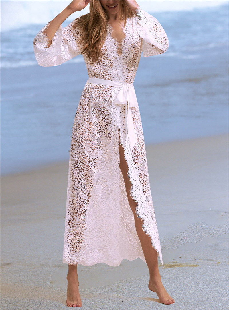 9e76eb8312 Sexy Women Swimwear Transparent Robe Beachwear White Lace Wrap Dress Elegant  Sashes Cardigan Tunic Beach Cover Up Skirt N622