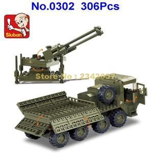Image 2 - Конструктор sluban военный, 2 мировая война, тяжелый транспорт, грузовик, 4 блока, игрушка, 306 шт.