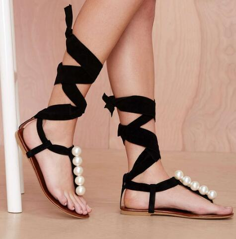 Hot Sell Suede Strap Sandals lace up gladiator flats thong sandals flip  flops Pearl decoration Fashion Shoes