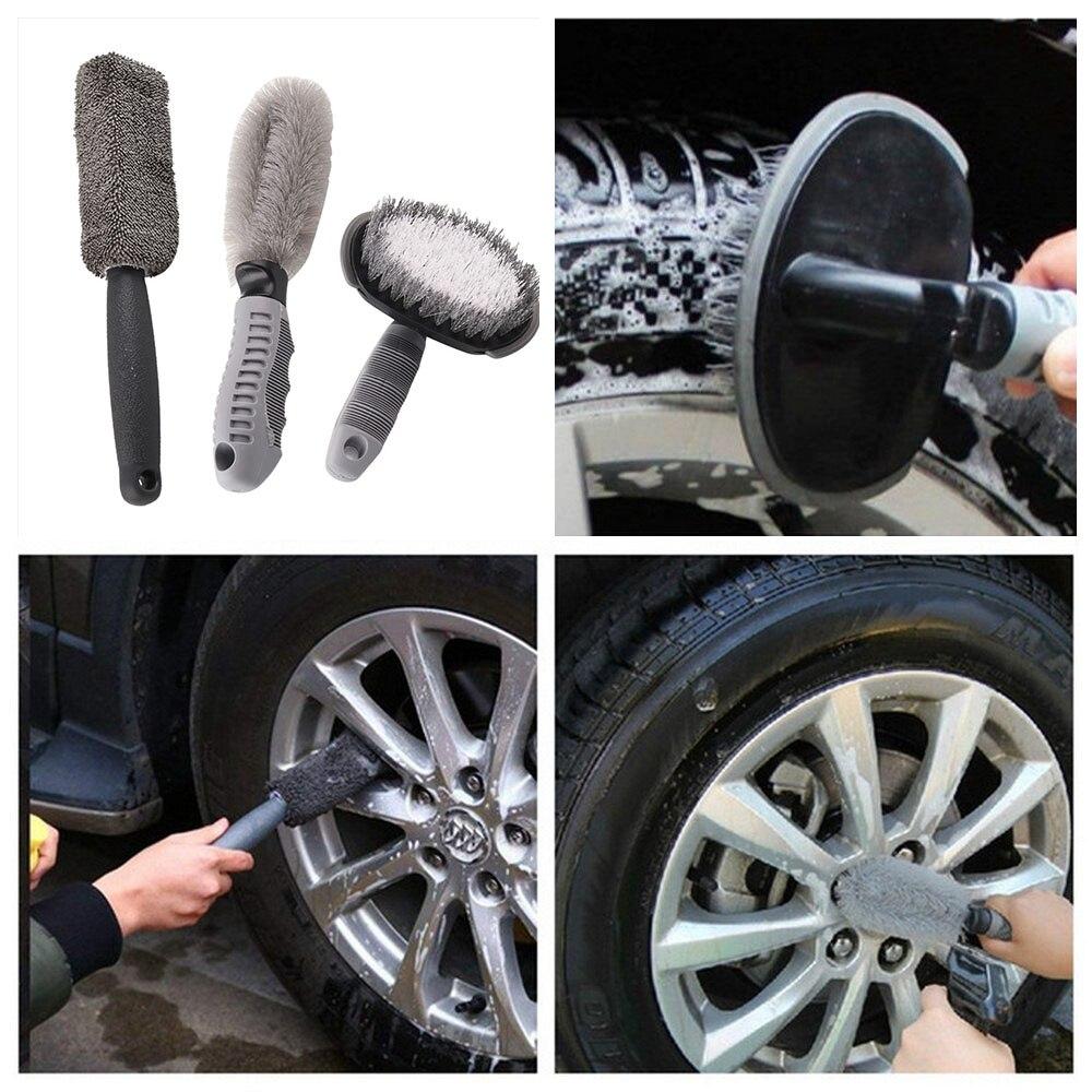 3pcs/Lot Universal Car Wheel Wash Brush Anti Slip Handle Car Cleaning Brush Kit Soft Auto Brush Dust Car Accessories
