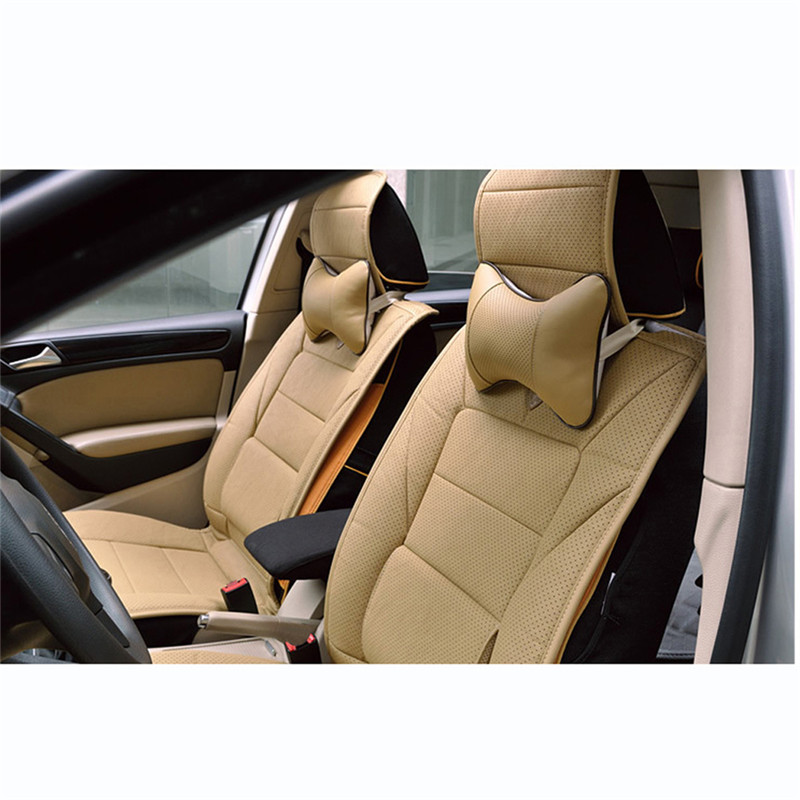 1pcs Universal Car Neck Pillows PVC Leather Breathable Mesh Auto Car Neck Rest Headrest Cushion Pillow Car Interior Accessories 6