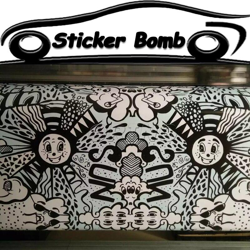 Black & white, carina, sorridente viso car styling sticker bomb vinile dell'involucro dell'automobile della bolla di aria libera per auto barca wrapping decalcomania coperture