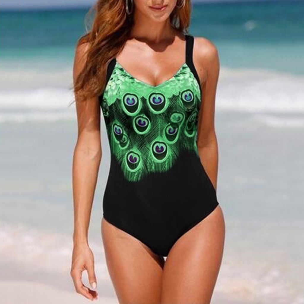 קיץ נשים סקסי נוצה מודפס Bodycon ביקיני סרבל ללא משענת Push Up מרופד חוף בגדי ים בגד ים רחצה חליפת F10FE27