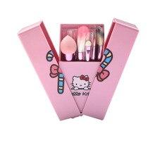 8pcs/set Cute Kitty Handle Pink Plastic Box Hello Foundation Kitty Blush Makeup Brush Set