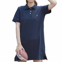 Polo T Shirt Dress Letter Embroidery Preppy Style Mini Tshirt Dress Casual Women Summer Long Polo Shirt