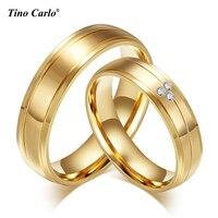 2 pcs/lots ליטוש טבעת זוג 316l נירוסטה אירוסין טבעת זהב צבע טבעות זוגות SFC055