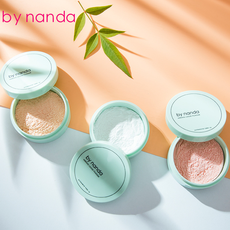 BY NANDA 3 Color Translucent Pressed Powder With Puff Smooth Face Makeup Foundation Waterproof Loose Powder image