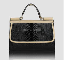 Hot new fashion handbags crocodile pattern collision color retro bag ladies handbag shoulder bag women