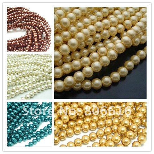 2# 12MM 210PCS Fashion Simulated Pearl Loose Bead Glass Beads Jewelry Components