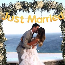 Just Married Wedding Banner Marriage Decoration Rustic Party Decor Vintage Garland Bride Supplies