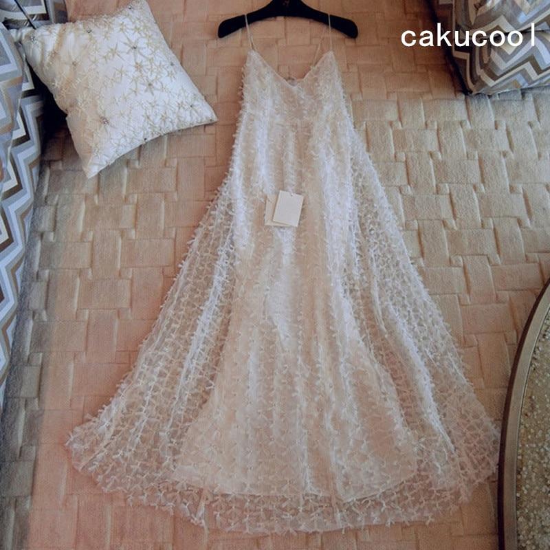 Cakucool New Luxury Pearl Beading Spaghetti Strap Dress Long A line Fairy Vestido V neck Backless Mid Long White Summer Dresses