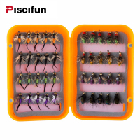 Piscifun 40pcs Wet Flies Fly Fishing Flies Kit Bass Salmon Trouts Sinking Assortment With Fly Box