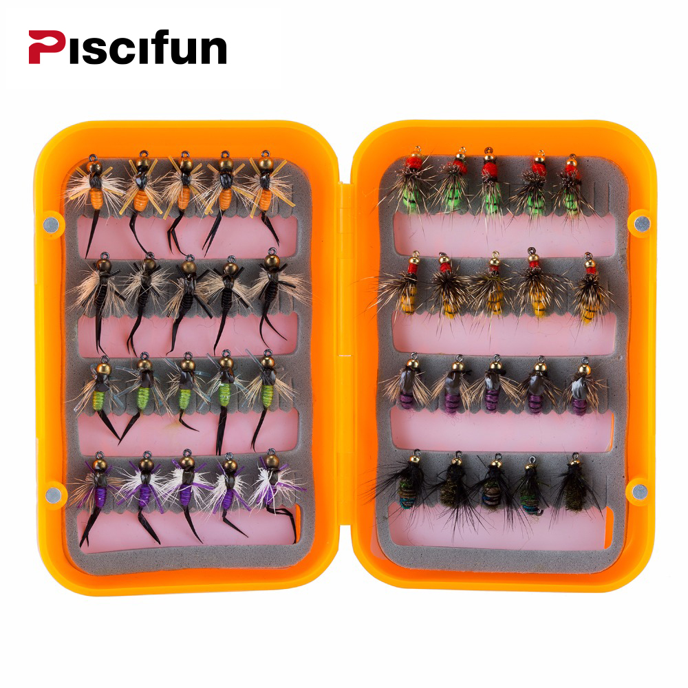 Piscifun 40pcs Wet Flies Fly Fishing flies Kit Bass Salmon Trouts Sinking Assortment with Fly Box Free shipping free shipping 1 4 bjd lovely doll unoa lusis soom sisit female doll wood araki sd luts doll ball jointed doll