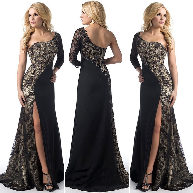 Sexy Dresses Party Dress 2019 Slit Mermaid Gown 2019 One Sleeve Robe Soiree Longue Femme 2019 Evening Dresses TS387