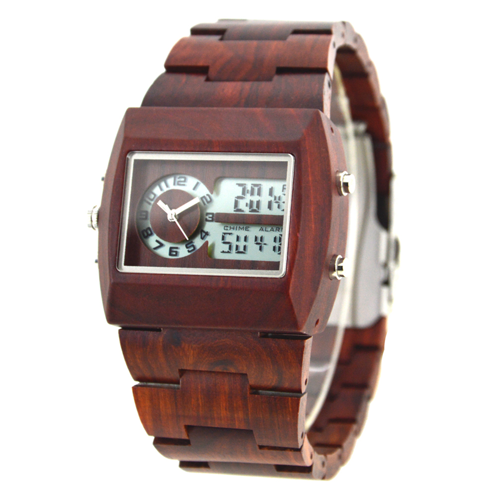 BEWELL Wood Watch Men Analog Quartz Watch Rectangle Wooden Wristwatch Dial Relogio LED Digital Watch Montre