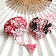 Хлопковая Высококачественная японская саше с цветком вишни в стиле ретро, Сумка с кисточками для ювелирных изделий, Подарочная сумка для украшения автомобиля