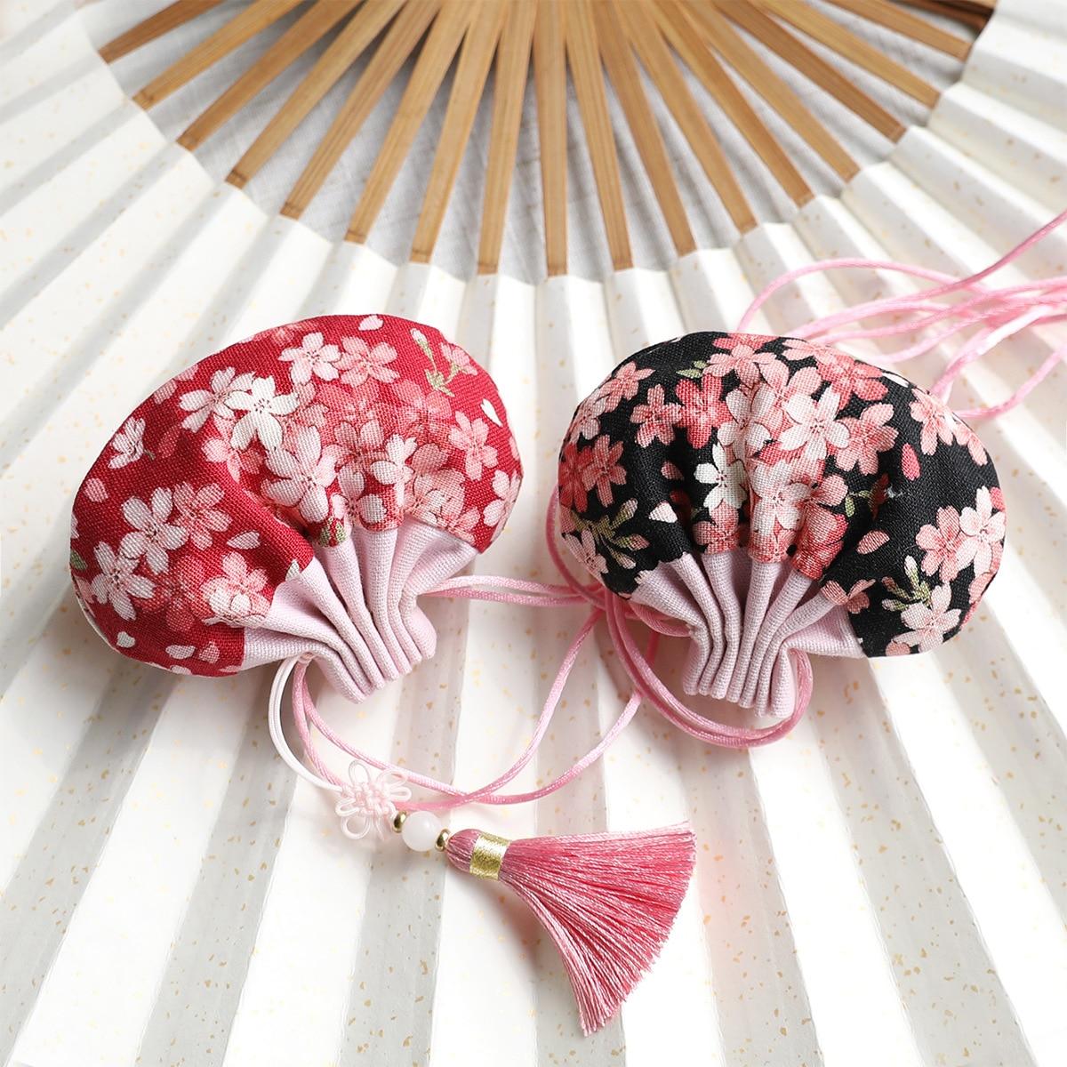 Cotton High Quality Japanese Cherry Blossom Splice Retro Series Palace Sachet Bag Tassel Jewelry Bags Car Decoration Gift Bag