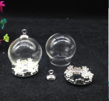 100sets/lot 20*15mm Free ship!!! (opening) glass globe & base &cap set DIY glass bubble glass vial pendant glass bottle jewelry