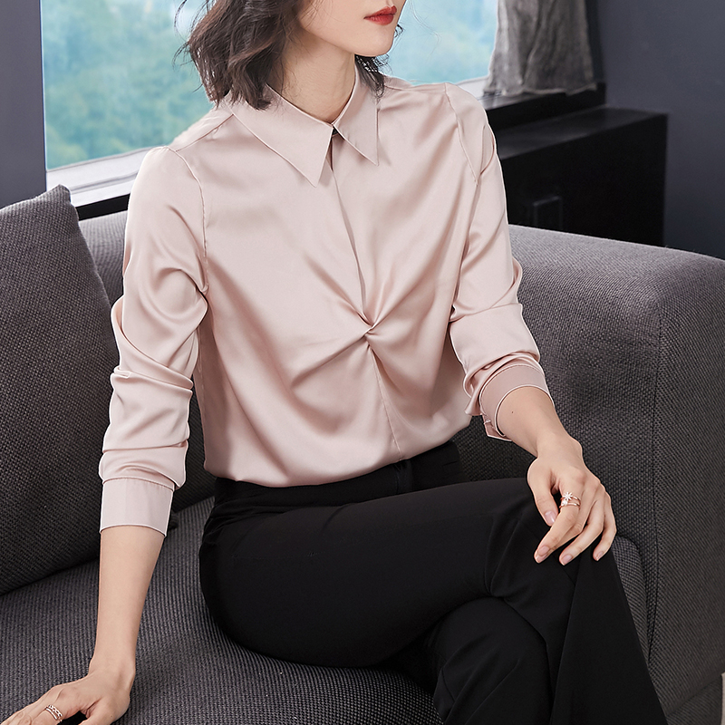 2056 2019 Moda 50 Oficina Tops Para Larga Botón abajo Manga Mujeres Camisas Rosado Giro blanco Dama Mujer Collar De Blusas XqXaTwI