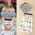 2017 Summer Runway Designer 2 Piece Set Women's Striped Off The Shoulder Crop Top + Fish Printed Diamond Button Pencil Skirt