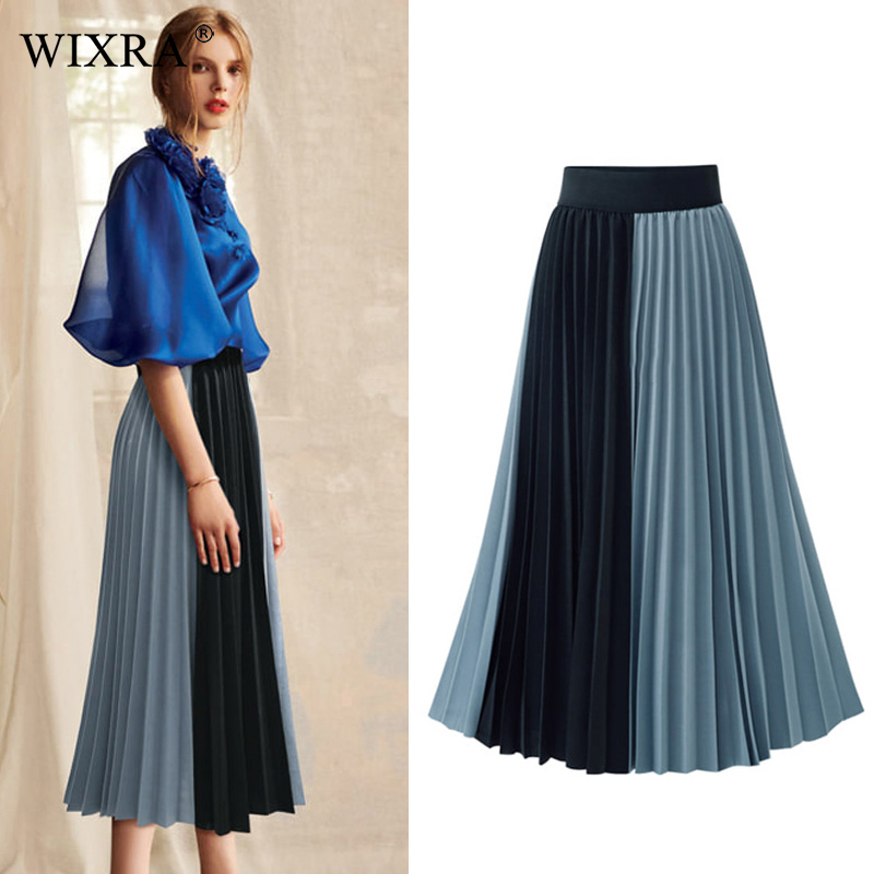 Wixra 2019 New Spring Summer Women A Line Pleated Skirts High Waist Elegant Skirt Patchwork Mid-Calf Skirt