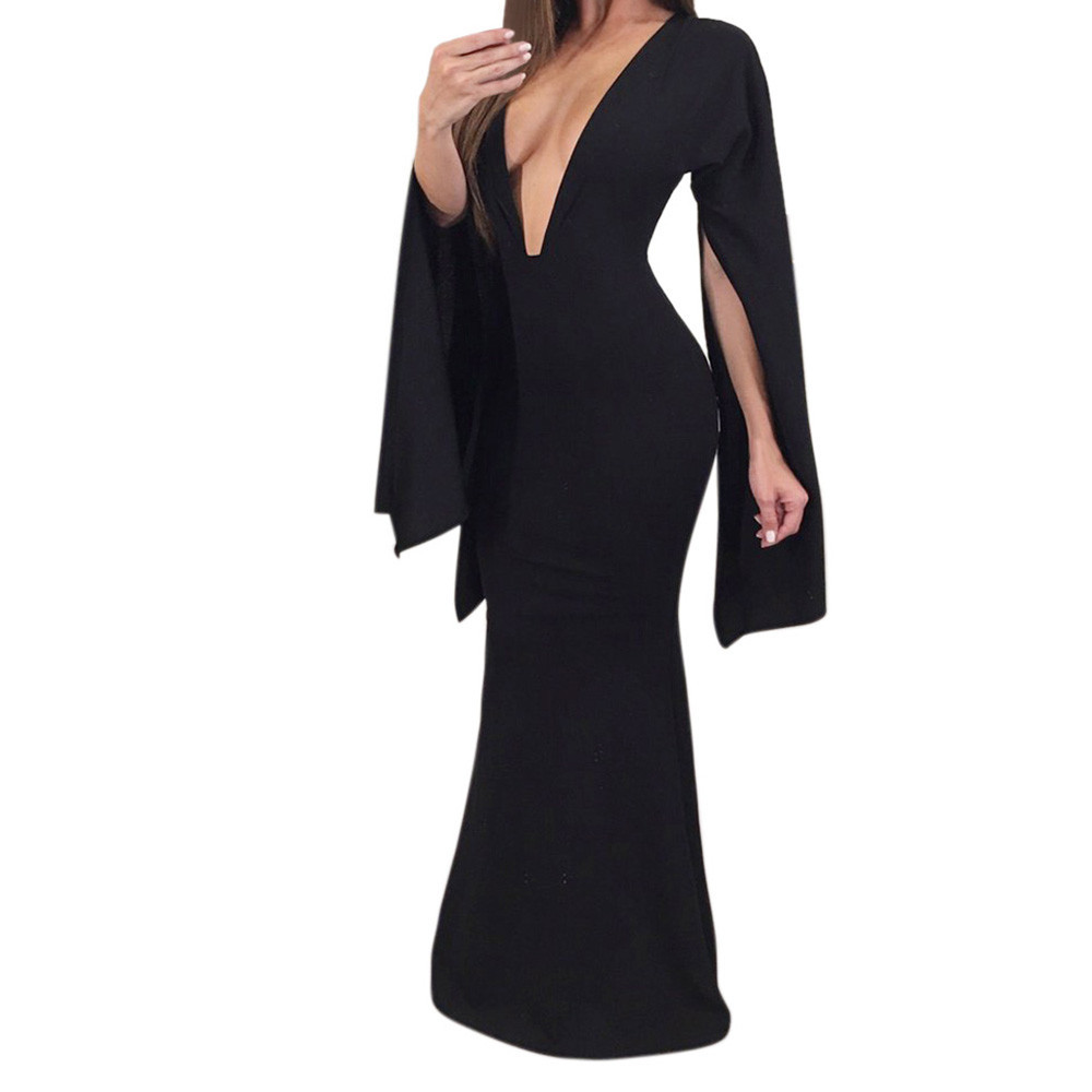Trendzone 5/25 Women Sexy Deep-V Backless Split Sleeve Slim Elastic Beach Party Free Shipping