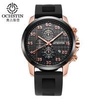 OCHSTIN Men Sport Quartz Watches Auto Date Man Casual Stopwatch Silicone Chronograph Wristwatch Relogio Masculino 080